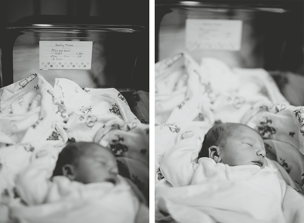 Newborn lays in incubator during Fresh 48 Lifestyle Photography newborn session.