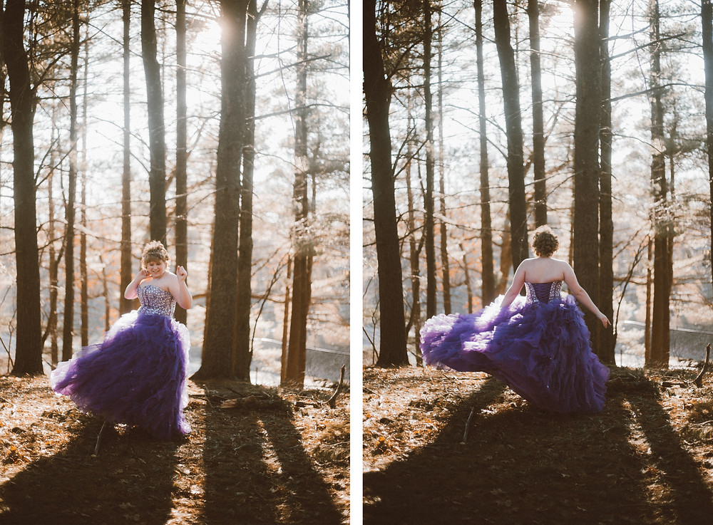 Girl in purple prom dress twirling in the woods during golden hour at sunset during her prom lifestyle photography session.
