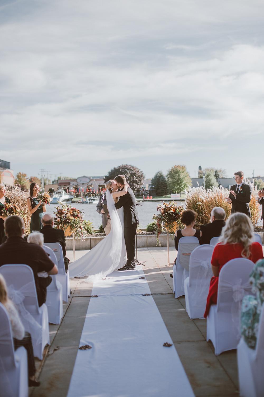 Romantic September wedding at Becket's in Oshkosh, WI.