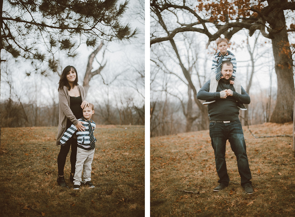 Mom, dad, and son play in the backyard during their maternity lifestyle photography session.