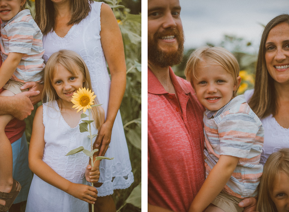 Lifestyle family photography at Oak Rest Farms sunflower field in Burlington, WI.