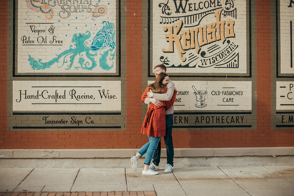 Lifestyle engagement session near The Coffee Pot diner in downtown Kenosha, WI. Photography by Anna Gutermuth.