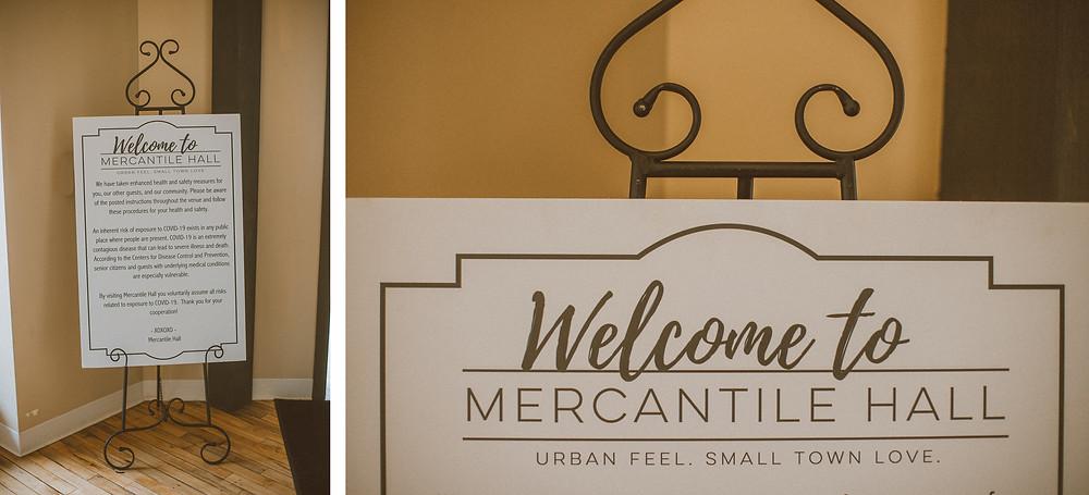Urban wedding venue Mercantile Hall in small town Burlington, Wisconsin.