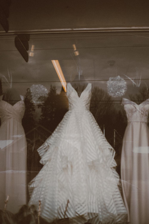 Striped wedding dress in Victorian Bridal, Waupaca, WI window display.
