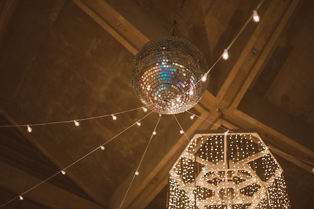 disco ball and string lights