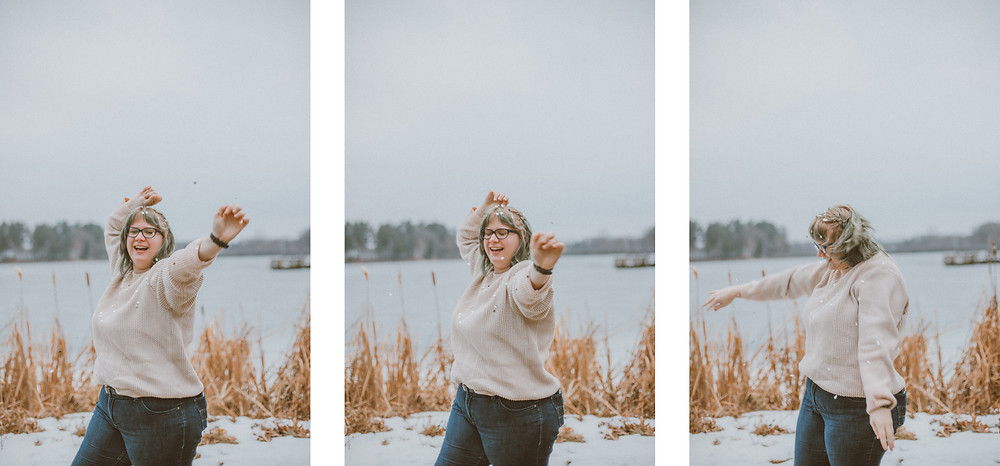 Girl throwing silver confetti. Lifestyle portrait photography by Anna Gutermuth.