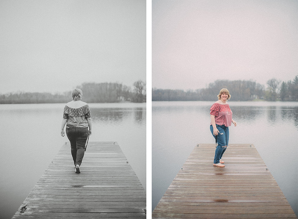 Woman walking across boating dock. Wisconsin Lifestyle Photography.