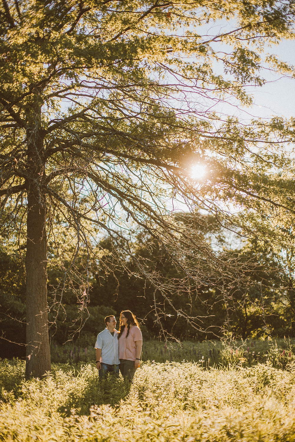 Lifestyle engagement photography at Memorial Park in Appleton, WI.
