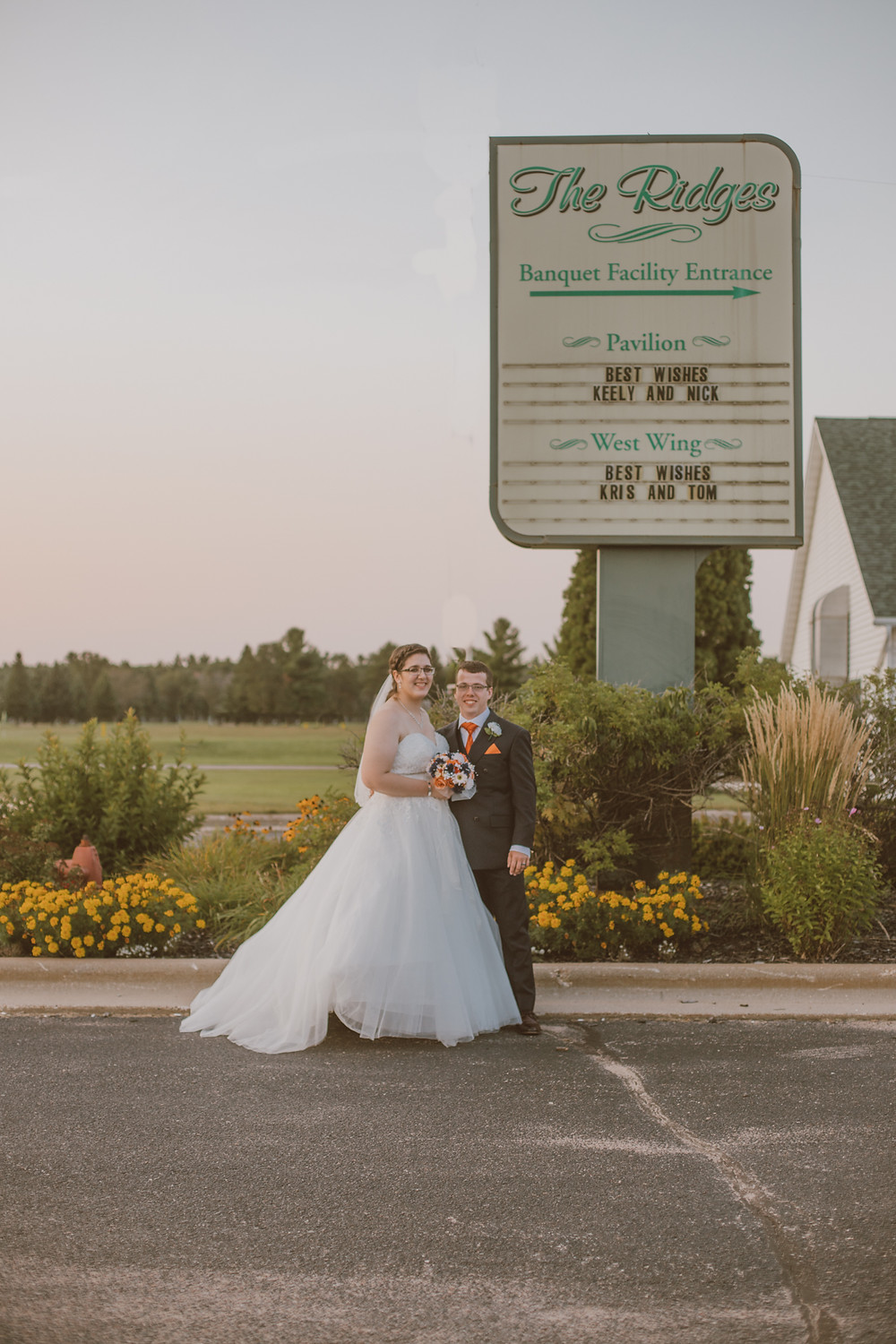 Romantic wedding photography at The Ridges Golf Course in Wisconsin Rapids, WI.