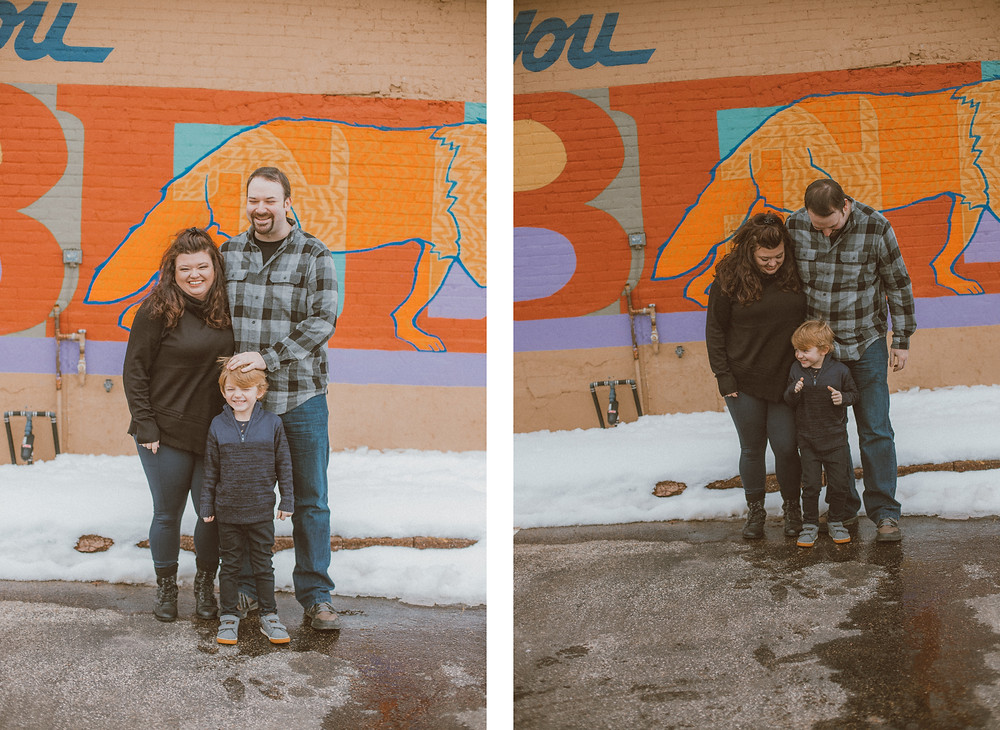 Lifestyle engagement session in downtown Waupaca, WI by Anna Gutermuth.