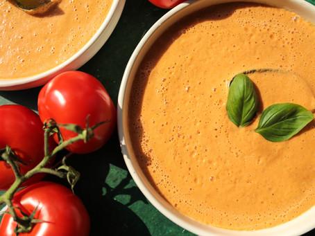 🍅Soupe crue de tomates, basilic🌿 et piment🌶