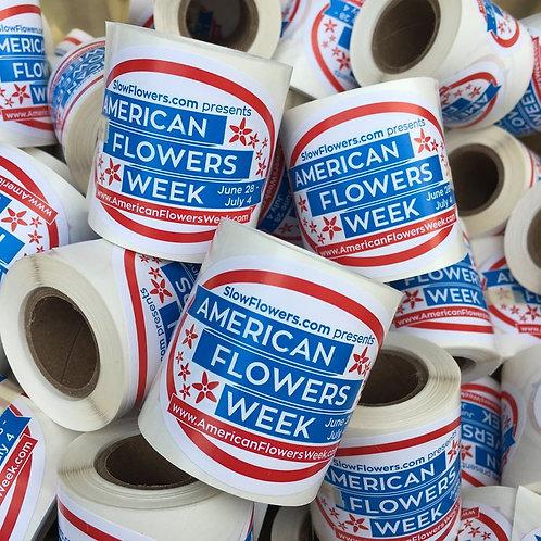 American Flowers Week bouquet labels