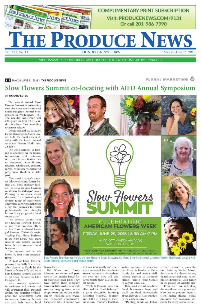 Slow Flowers Summit featured in PRODUCE NEWS
