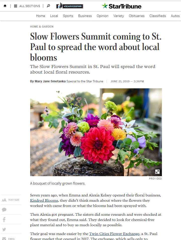 Slow Flowers Summit article in Minneapolis Star Tribune
