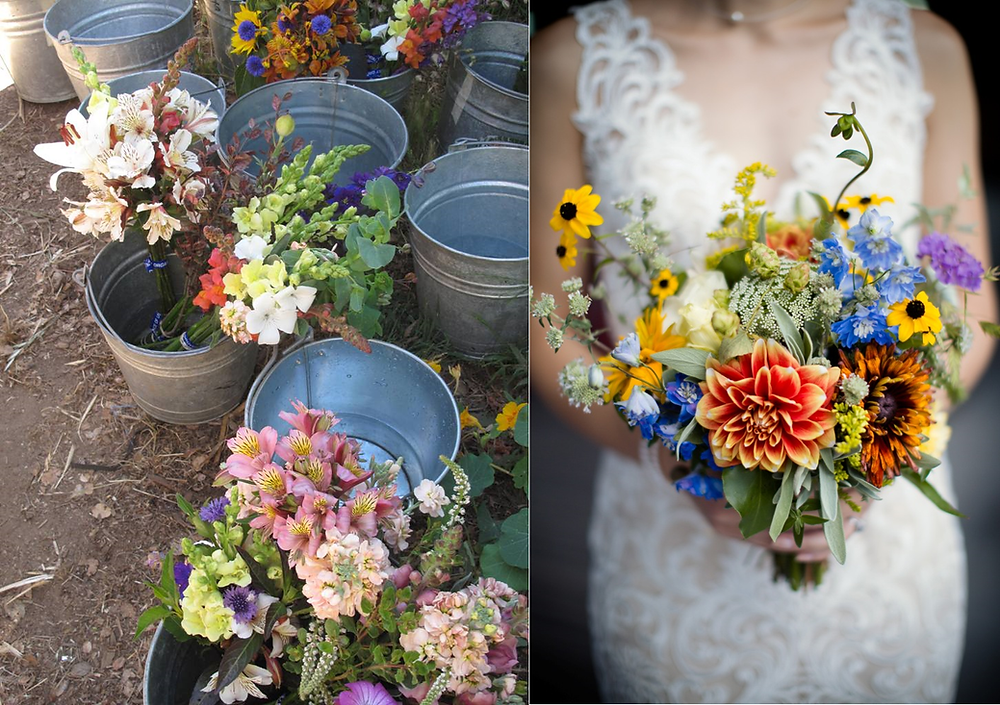 Flowers from CASFS (left); bouquet designed by Molly Oliver Flowers (right)