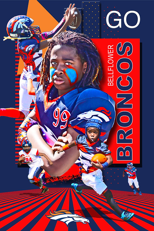 Bronco Red, Blue, Orange background