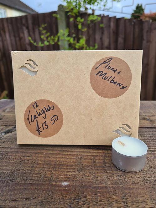 12 plum and mulberry tealights