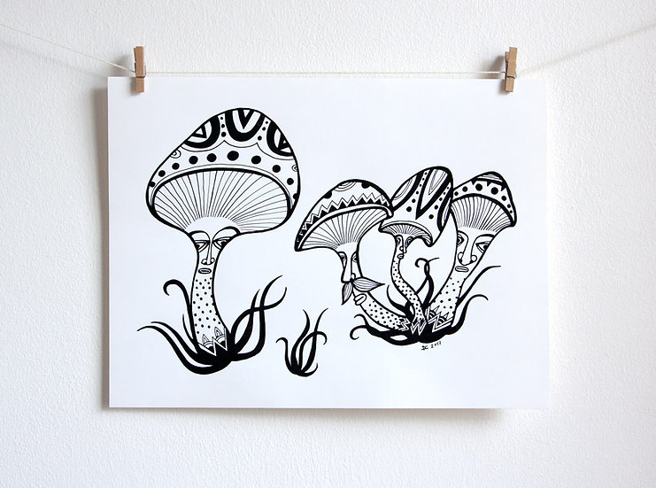 Family of mushrooms / Original ink mushroom drawing