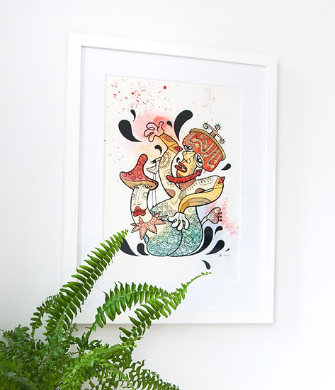Mushroom Kamasutra / Watercolor and ink original painting