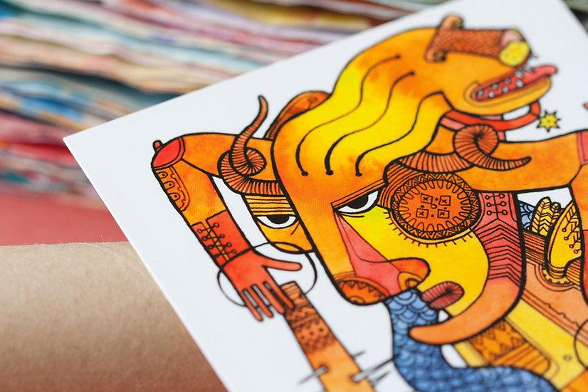 Lion-Hunter / Artistic postcard