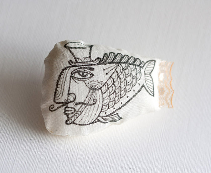 Uncle Fish fabric brooch / hand painted soft art brooch