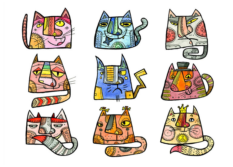 Cats / Artistic postcard