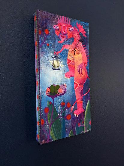 Sleeping outdoors / Acrylic mixed media original painting