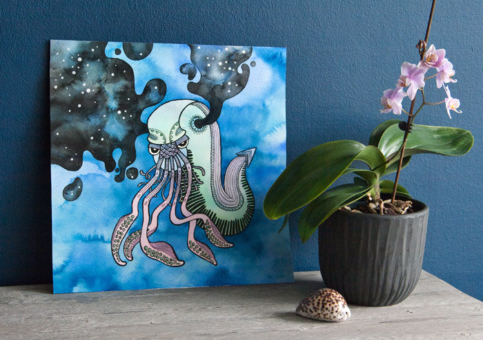 Sea Creature / Original watercolor and ink painting