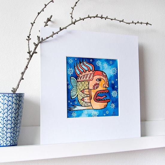 Woman-fish / Watercolor and ink original painting
