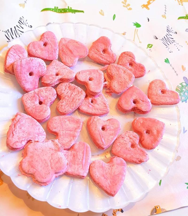 DIY air-dry salt dough love hearts craft, activity for kids on Valentine's Day
