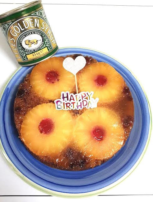 Classic pineapple upside-down cake. Golden syrup