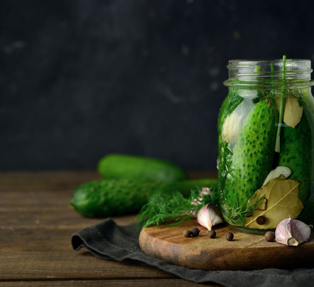 Pickled cucumbers with herbs and spices