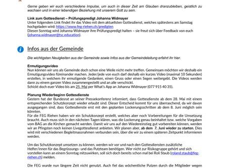 FEG Newsletter #9 - 21.05.2020