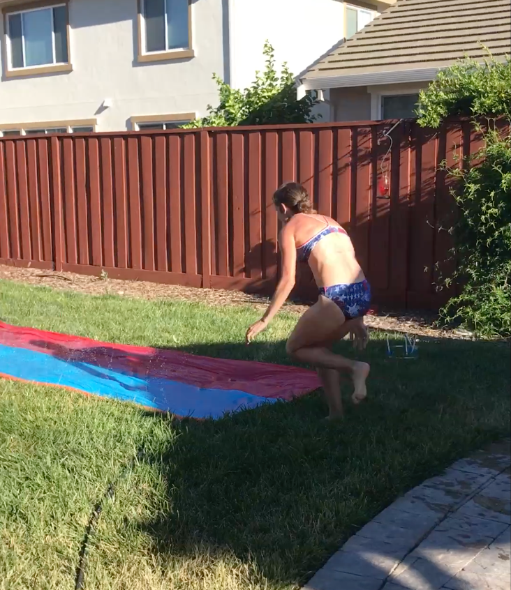 Post-race SlipnSlide with cool kids