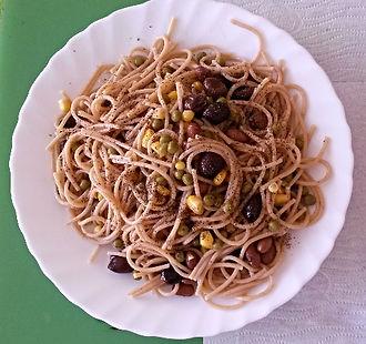 Веганская кухня. Вегетарианская кухня. Веганские рецепты. Вегетарианские рецепты. Веганские блюда с фото. Вторые блюда.  Спагетти цельнозерновые камут с фасолью