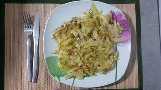 Веганская кухня. Вегетарианская кухня. Жареная капуста