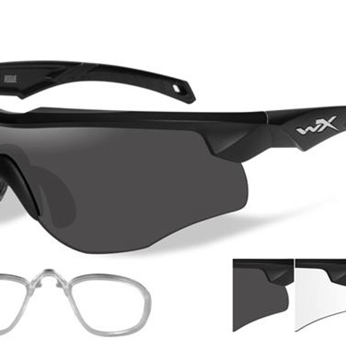d47f0b3a21f Wiley X ROGUE GREY CLEAR MATTE BLACK FRAME W RX INSERT
