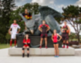 UofG athletes stand proud next to Gryphon statue