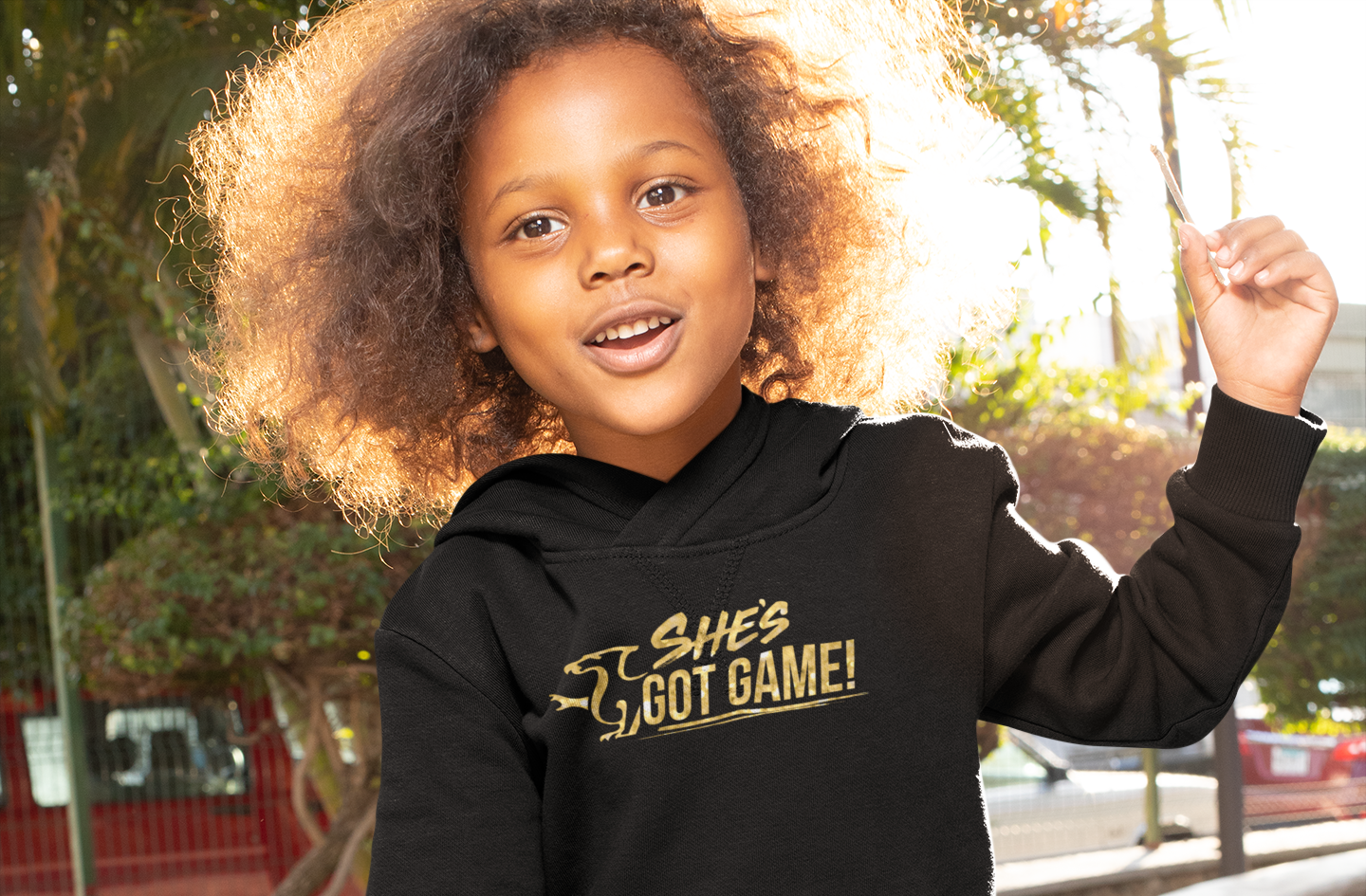 She Can, She Will Children's Black Hoodie