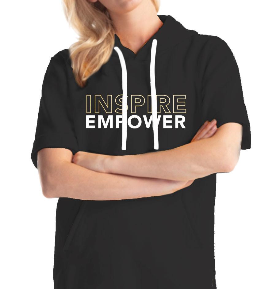 """""""Inspire, Empower"""" Black Short-sleeved Hoodie"""
