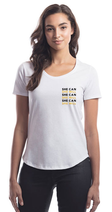 """She Can, She Will"" Scoop Tee-SHE-CAN-SHE-WILL-left-chest-"