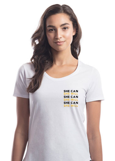 """""""She Can, She Will"""" Scoop Tee-SHE-CAN-SHE-WILL-left-chest-"""