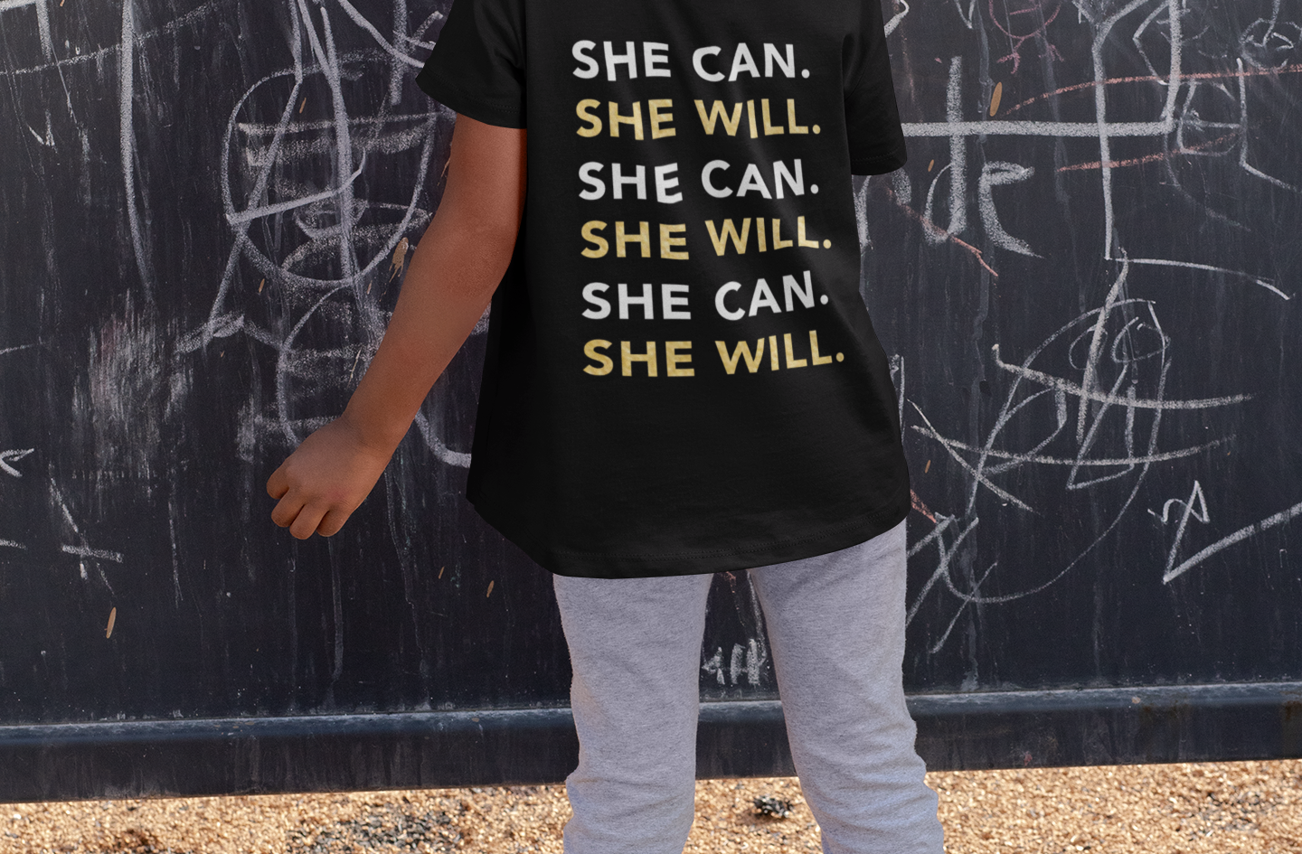 """""""She Can, She Will"""" Children's Black Tee"""