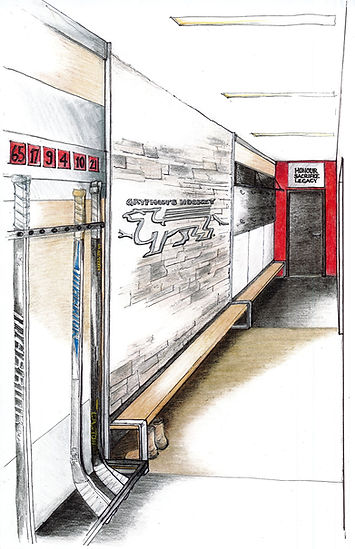 Gryphon womens varsity hockey locker room rendering