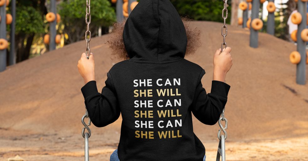 She Can, She Will Children's Black Hoodie (back)