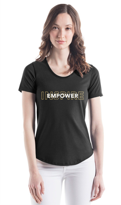 """""""Inpsire, Empower"""" Overlay Scoop Tee"""