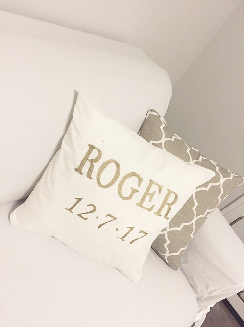 Baby Name & Date Pillow