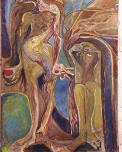Adam et Eve (huile sur toile, Colectionn