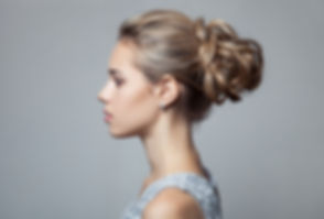 Beautiful Blond Woman. Hairstyle and Mak