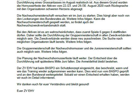 Neue Infos ZV EHV